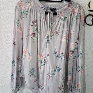 Torrid sheer floral long sleeved blouse